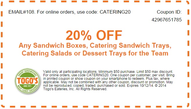 Today's Top Togo's Promos
